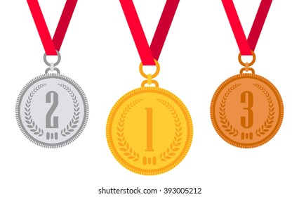 Gold medal. Silver medal. Bronze medal. Gold medal icon. Silver medal icon. Bronze medal icon. Medal set. Vector set. Isolated medal on the white background. Vector illustration