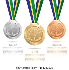Gold medal, Silver medal, Bronze medal, Info-graphic element, Vector illustration.