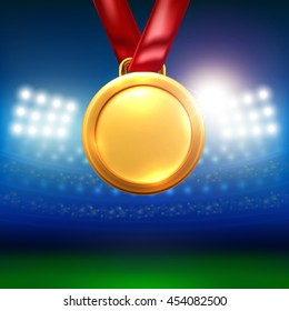 gold medal with spotlight and stadium background.Vector illustration eps 10