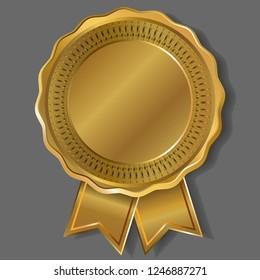Gold medal. Medal template. Golden badge with ribbons. Vector illustration.