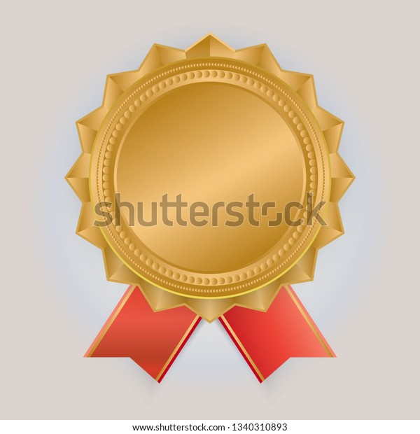 Gold Medal Vector Golden 1st Place Stock Vector (Royalty