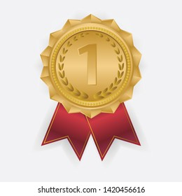Gold Medal Vector. Golden. Golden Challenge Award.