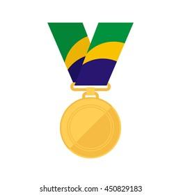 Gold medal. Winner reward. Brazil flag colors. Vector illustration.