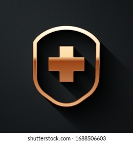 Gold Medical shield with cross icon isolated on black background. Protection, safety, password security. Long shadow style. Vector Illustration