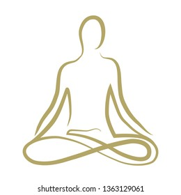 gold meditating person, abstract logo icon