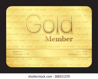 Gold member club card with small stars pattern