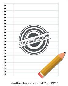 Gold Membership emblem drawn in pencil. Vector Illustration. Detailed.