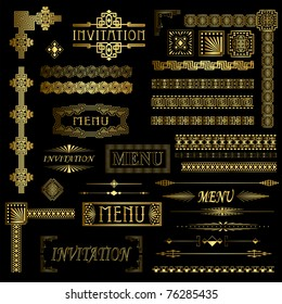 Gold menu and invitation border elements