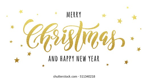 Gold Merry Christmas and Happy New Year lettering on glitter star ornaments background. Vector Holiday decoration Xmas lettering for greetings card background