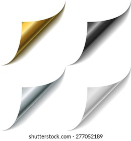 Gold, metal, black and white page corner curls vector template.