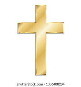 Gold metal christian cross with shadow, isolated on white background.
