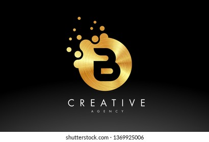 Gold Metal Dots Letter B Logo. B Letter Design Vector with Dots.