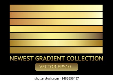 Gold metal gradient scratch texture background set. Golden scratched metal chrome texture vector icon foil background collection. Gold grunge background for banner, ribbon, label. Golden scratch