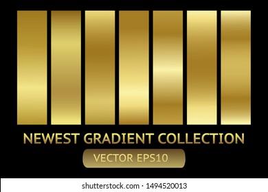 Gold metal scratched chrome foil texture vector icon background set for banner, ribbon, label. Golden grunge shiny gradient design collection. Elegant light effect pattern template