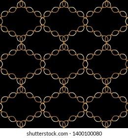 Gold  metal shine chains grid seamless . Fashion illustration. Seamless pattern abstract design. Filigree necklce ob blackbackground.