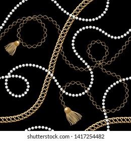 Gold  metal shine chains  with pearl beads and tassel seamless . Fashion illustration. Seamless pattern abstract design. Filigree necklce on deep blue background.