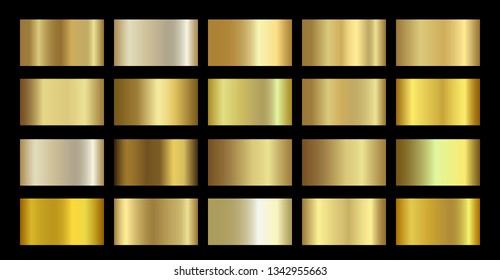 Gold Metallic, bronze, silver, chrome, copper metal foil texture gradient template. Vector golden swatch set. Metallic gold gradient illustration gradation for backgrounds, banner, rings, ribbons