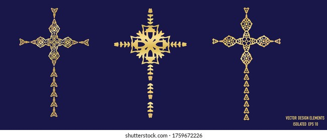 Gold metallic cross design element icon. Isolated decorative faith symbol motif.  Ornate decorated shiny metal effect. Collection Set