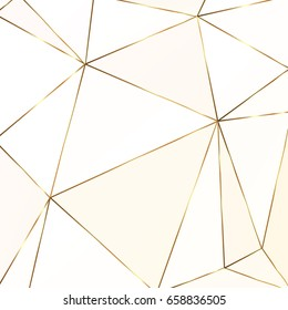 Gold metallic polygonal texture with golden glitter triangles, geometric and diamond shapes.