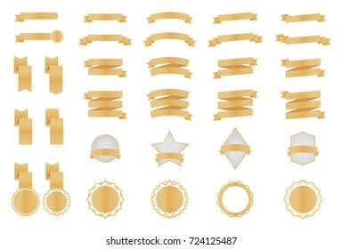 Gold Metallic Premium Ribbon Banner Set Vector Illustration For Shop, E-Commerce, Web, Business, Flyers, Posters, Scrapbook