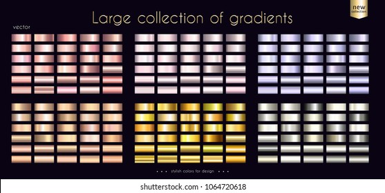 Gold metallic rosy collection of gradients Large set of fashion palettes for coin ribbon medal cup background frame banner card cover label flyer etc. Vector template