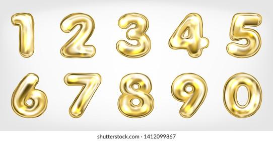 Gold metallic shining number symbols, isolated digits