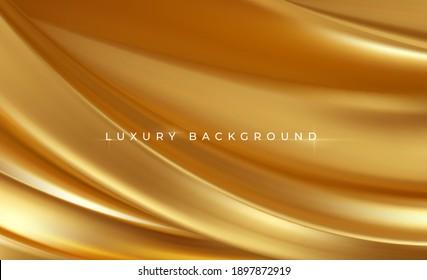 Gold metallic silk flowing wave luxury trendy background. Background for presentation, brochure, booklet, poster. Vector illustration EPS10