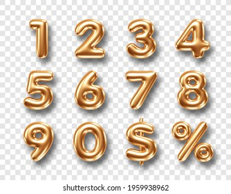 Gold metallic three dimensional numbers isolated on transparent background