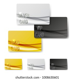 Gold mild swoosh wave pattern premium member cards collection. Vector illustration