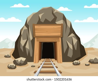 Gold mine entrance with rails in the rock. Tunnel shaft with wooden supports. Vector illustration.