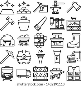 Gold mining icons pack. Isolated gold mining symbols collection. Graphic icons element