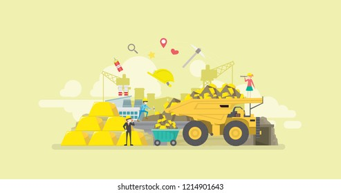Gold Mining Industry Activity Tiny People Character Concept Vector Illustration, Suitable For Wallpaper, Banner, Background, Card, Book Illustration, And Web Landing Page