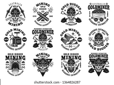 Gold mining and resource extraction set of twelve vector monochrome emblems, badges, labels or logos in vintage style isolated on white background