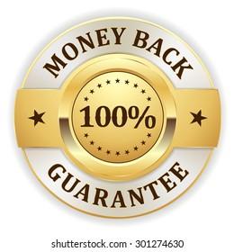 Gold money back badge on white background
