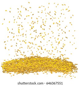 Gold money rain. Vector coins falling down isolated on transparent background. For lottery winning, business success concept or as idea of stock market.