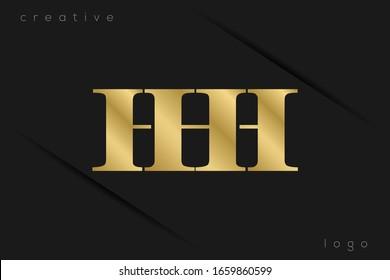 Gold Monogram Initials Uppercase Letter H HH HHH logo design vector