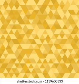 Gold mosaic abstract seamless backround. Yellow triangular low poly style pattern. Vector illustration