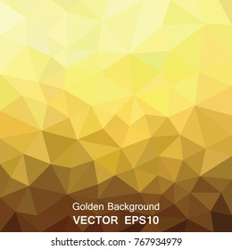 Gold mosaic background vector. Low poly design geometric origami  texture.