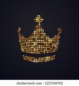 Gold mosaic dots crown vector isolated logo on dark background. Pixel art logotype of diadema, corona design element