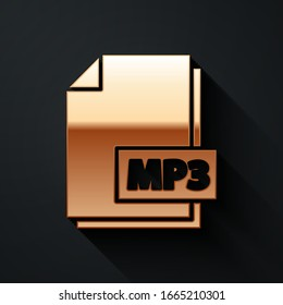 Gold MP3 file document. Download mp3 button icon isolated on black background. Mp3 music format sign. MP3 file symbol. Long shadow style. Vector Illustration