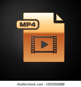 Gold MP4 file document. Download mp4 button icon isolated on black background. MP4 file symbol.  Vector Illustration