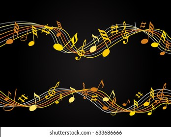 Gold music notes on a solide black background