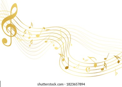 Gold music notes on white background