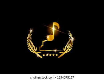 Gold musical note trophy isolated on black. Music award concept, Gold vector best music awards winner and golden tone icon