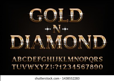 Gold n diamond alphabet font. Serif golden letters and numbers with diamond gemstone. Stock vector typescript for your design.