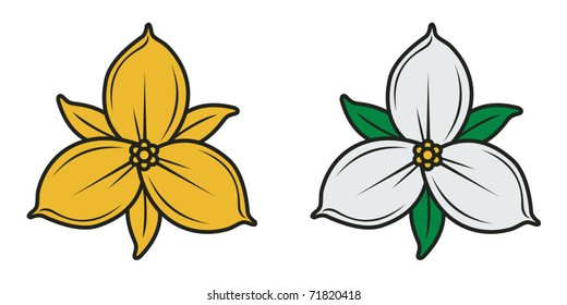 gold and natural trillium flower of Ontario and Canada