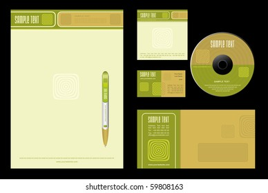 Gold Nature - template vector background (blank, card, cd, note-paper, envelope, pen)
