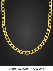 Gold necklace on black background. Vector illustration.