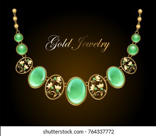 Gold necklace with oval precious chrysoprase gems and chain on dark background.