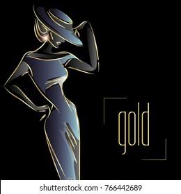 Gold neon fashion woman silhouette, beautiful fashion model on black background logo vector illustration art